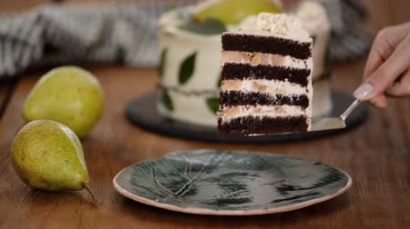 segurelha : A piece of delicious chocolate cake with pear filling.