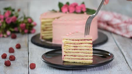 blackberry : Piece Of Delicious layered creamy fruit cake. Raspberry layer cake.