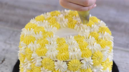nappage : Pastry chef decorating cake with cream.