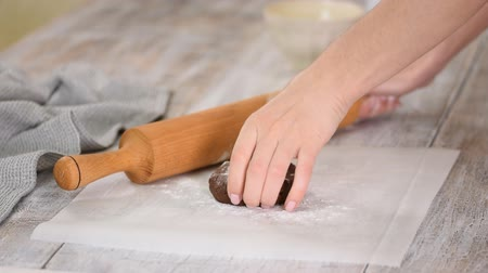 perkament : Female hands rolling chocolate dough with rolling-pin. Cooking homemade chocolate layer cake.