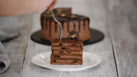 pite : Eating piece of chocolate cake with prunes and rum. Stock mozgókép