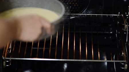unfinished : Female hands put raw cake in the oven. Stock Footage