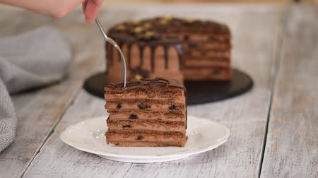 jegesedés : Eating piece of chocolate cake with prunes and rum. Stock mozgókép