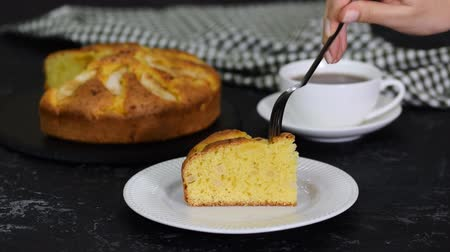 baking ingredient : Delicious Cake Slice With Pear And Cup of Tea.