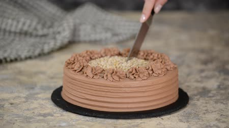 Delicious chocolate cake with nuts. Cutting chocolate cake with a kitchen knife.