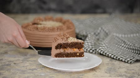 Piece of Delicious Chocolate Cake with nuts and caramel. Stok Video