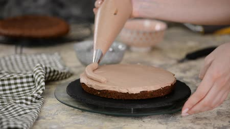 squeeze : Pastry Chef Making A Cake On The Kitchen. Female Hand Squeezes The Chocolate Cream.