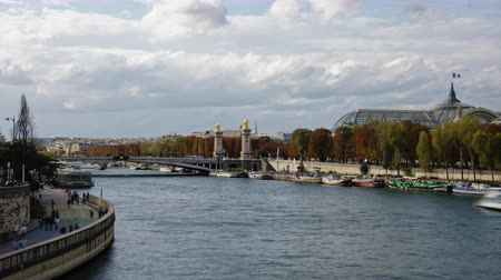 リベット : A Alexander Bridge 3 view in Paris with boats and people passing on a time lapse 動画素材