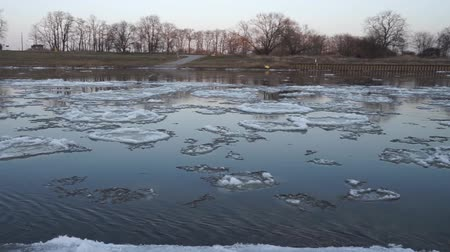 Ice floes on a river Stock Footage