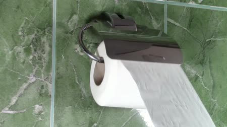 necessity : Unrolling toilet paper from an aluminum wall mounted toilet paper holder Stock Footage