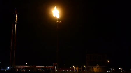 rafineria : Oil refinery tower torch burning evacuation gases at night Wideo