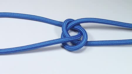 cordas : Common nautical bowline knot made from blue synthetic rope, tightening on white background