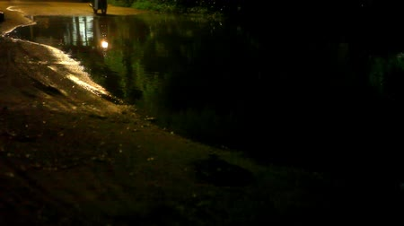 metin alanı : Motorbike  drives through a puddle on the road at night after rain. Video Stok Video