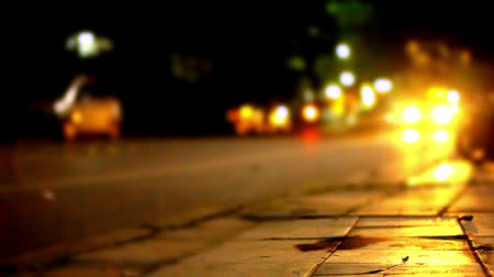 streetlights : Traffic at night with blurry background and bokeh. Video shift motion Stock Footage