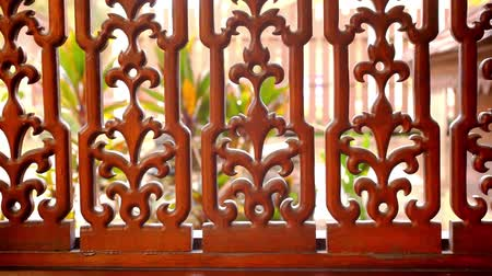 madeira : Beautiful wooden fence with ornaments. Macro video shift motion Vídeos