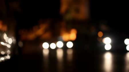 mussulman : active traffic on the road at night in background of fortress Phra Sumen Fort. Bangkok. Video transition to blur and bokeh