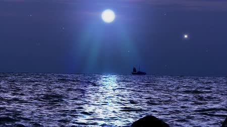 pirat : Ship sails under the moon in magical night on Koh Samui