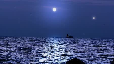 horizonte sobre a água : Ship sails under the moon in magical night on Koh Samui