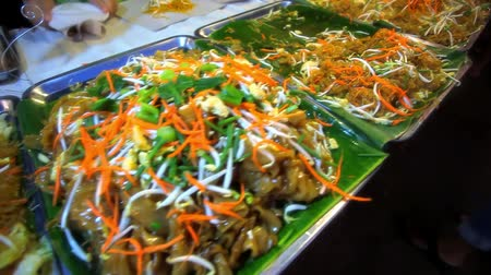 galuska : Thai food different Padthai hot with noodle in night street market Koh Samui Thailand