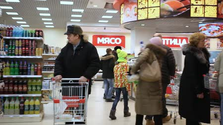 bakkal : RUSSIA, MOSCOW, 7 MARCH 2015, People shopping at the grocery supermarket. HD. 1920x1080