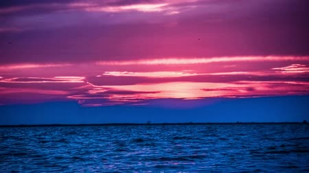 mavi gök : Amazing purple Sunset on the beach with beautiful sky Stok Video