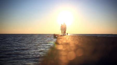 şaşırtıcı : Silhouettes of people going to the sun on The pier at sunset and blurred bridge with bokeh in background Stok Video