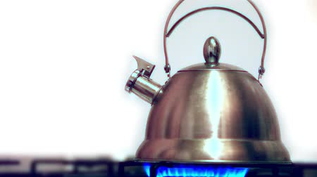 demlik : Tea kettle with boiling water on gas stove