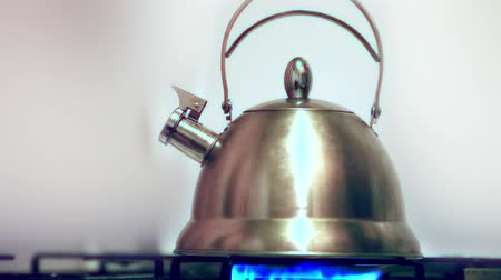 konvice : Tea kettle with boiling water on gas stove