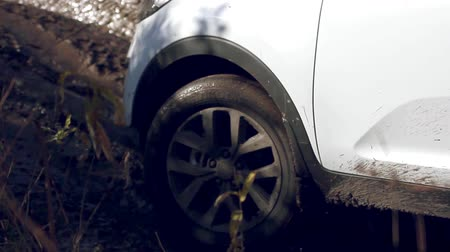 bahno : Cars wheels in mud in the forest, off-road. SUV got stuck in the mud and trying to go out