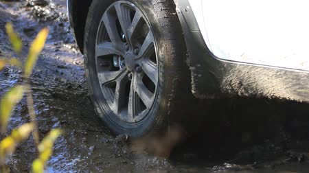 preso : Cars wheels in mud in the forest, off-road. SUV got stuck in the mud and trying to go out
