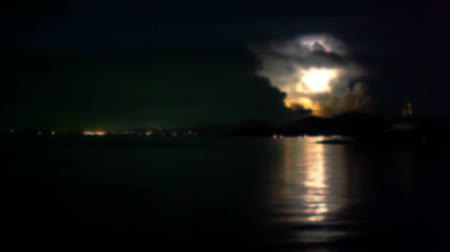 river ocean : Lightning in the sea during night time. Time lapse speed up blurred background Stock Footage
