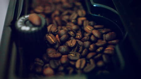 coffee grounds : putting some coffee beans in the coffee machine