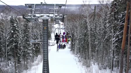 chair lift : Ski track with chair lift, resort in mountains, Siberia