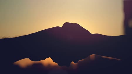 dünya çapında : Slow motion Of Businessman and businesswoman shaking hands at sunset on blurred silhouette of the city. the sun shining through their hands
