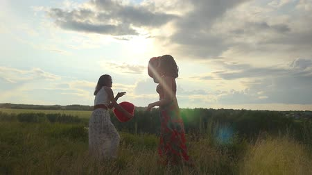 harc : Two beautiful girl friends pillow fight on nature in sunset time