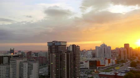 panoramic view : Timelapse of Beautiful sunset over the big city Novosibirsk