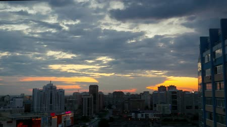 закат : Timelapse of City during warm amazing sunset and beautiful sky