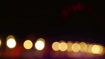 blur : the night of modern beautiful bridge chenges focus to blurred with bokeh. 4k