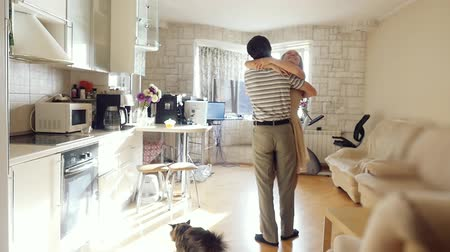 nákupy : Husband leads his wife in their new home, young couple embrace in their new flat and also cat coming there in slowmotion. 1920x1080 Dostupné videozáznamy