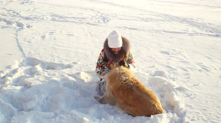 честный : Young beautiful happy girl plays with a retriever dog in the snow in winter in sunny day during sunset time Стоковые видеозаписи