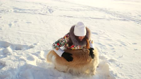 honesto : Young beautiful happy girl plays with a retriever dog in the snow in winter in sunny day during sunset time Vídeos