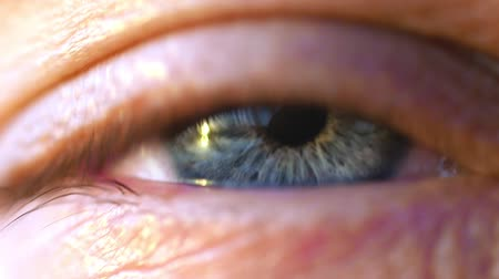bulva oční : Extreme macro shot of opening of a blue eye of young man in slow motion. 1920x1080