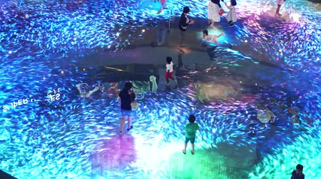 Singapore, 26 May 2018. Large screen augmented reality experience on the floor. Digital Light Canvas at Marina Bay Sands Science, people with their children have fun at it screen. sound. 3840x2160 Vídeos