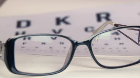 persiana : Eye test and eyeglasses Stock Footage