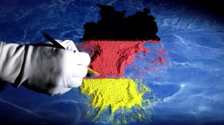 bavaria flag : Germany map, artist, time lapse Stock Footage