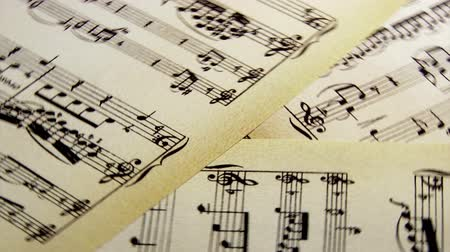 mozart : Sheet music, notes, spin Stock Footage