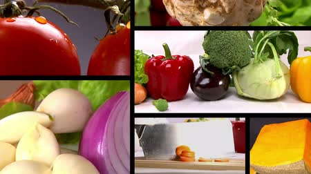 salad : Food, fresh vegetables, Studio shot, composition 6 clips