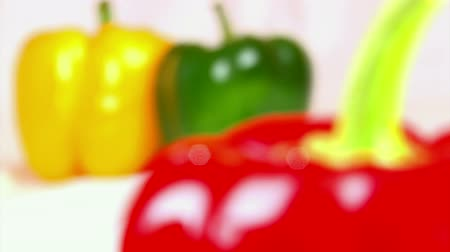 biber : Vegetables, three-color bell peppers, red Stok Video