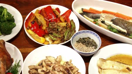 shiitake : Festive foods, served on table, pan left