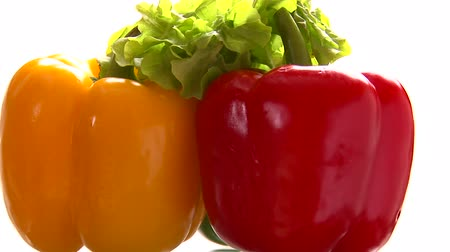 paprika : Three peppers, green lettuce